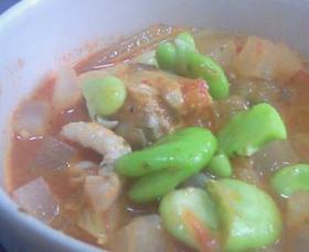 痩る 食事 例 鶏豆トマトスープ